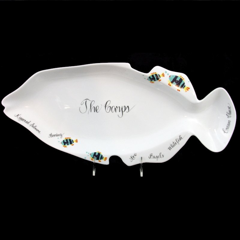 Personalized Judaica Fish Platter-personalized gifts, porcelain, fish platter, judaica, judaica gifts, holiday gifts, hand painted, fish plate, serving dish