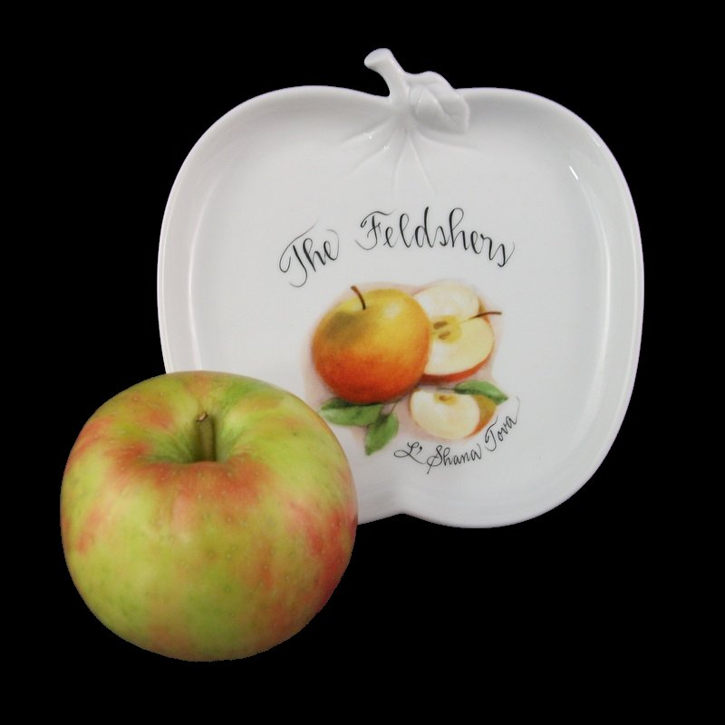Personalized Judaica Apple Plate-Jewish gift, apple plate, apple shaped plate, Rosh Hashanah, Rosh Hashana, porcelain, personalized gift, hand painted gifts, hand painted gift, holiday gift, Judaica