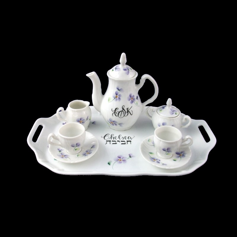 Personalized Hand Painted Judaica Mini Tea Set-gift idea, personalized gift, personalized gifts, tea set, tea sets, porcelain tea sets, mini tea sets, tea cups, baby gifts, birthday gifts, collectible tea sets, miniature tea sets, porcelain painted, unique gifts, hand painted, tea set, teasets, teaset, Jewish baby naning, jewish ceremony, baby naming, Hebrew gift, Jewish gift, Judaica gift
