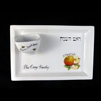 Personalized Hand Painted Rectangular Apple Plate with Honey Bowl-Rosh Hashana, Rosh Hashanah, Jewish, Judaica, Jewish New Year, Jewish Holidays, Apple Plate, Honey Bowl, Porcelain Tray, Rectangular Tray, Hostess Gift, Holiday Gifts, Apple