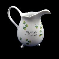Personalized Hand Painted Porcelain  Pitcher for Passover-cocktail pitcher, pitcher, hand painted pitcher, drinks, cocktails, personalized pitcher, bar acessories, wedding gifts, anniversary gift, bridal gift, birthday gift, cocktail party, dinnerware. porcelain, Passover, Pesach, Passover pitcher, Pesach pitcher